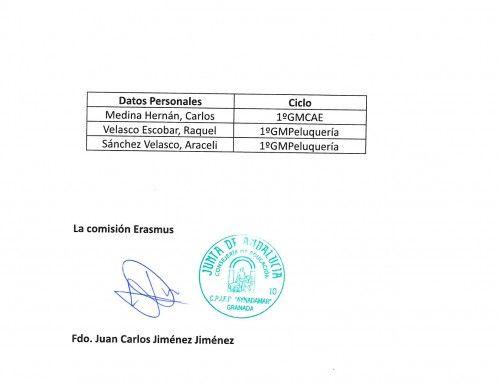 Alumnado del CPIFP Aynadamar que ha sido seleccionado para una beca de 15 días a Italia Erasmus+